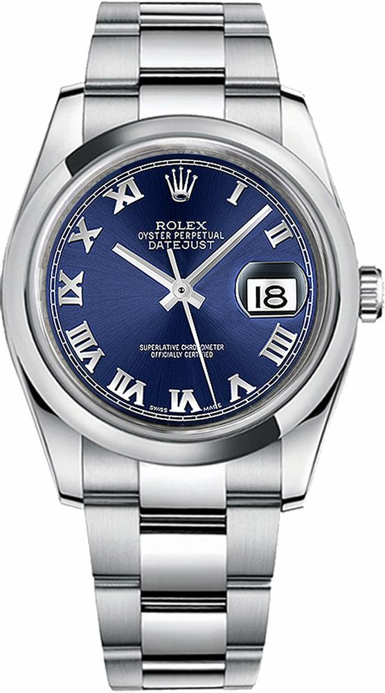 Rolex  DateJust 36 mm  Blue Roman Numeral Watch